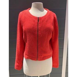 Blu Pepper | coral zip up tweed jacket